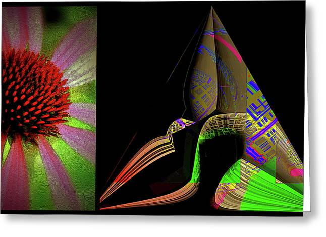 Greeting Card featuring the digital art Flowers And Shapes by Irma BACKELANT GALLERIES