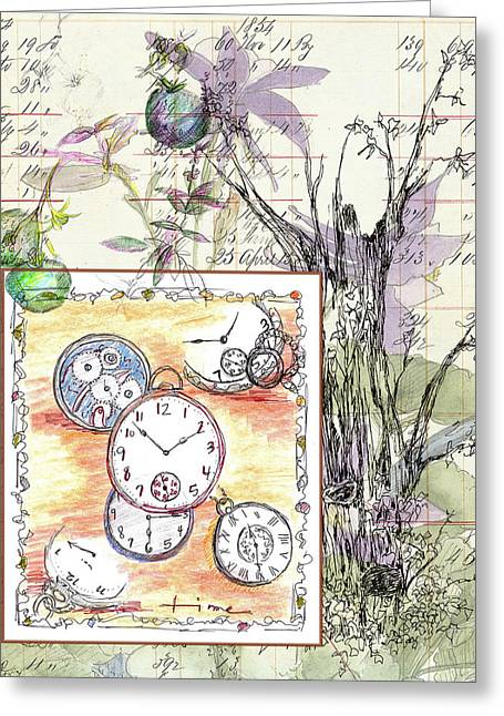 Greeting Card featuring the drawing Flowers And Time by Cathie Richardson