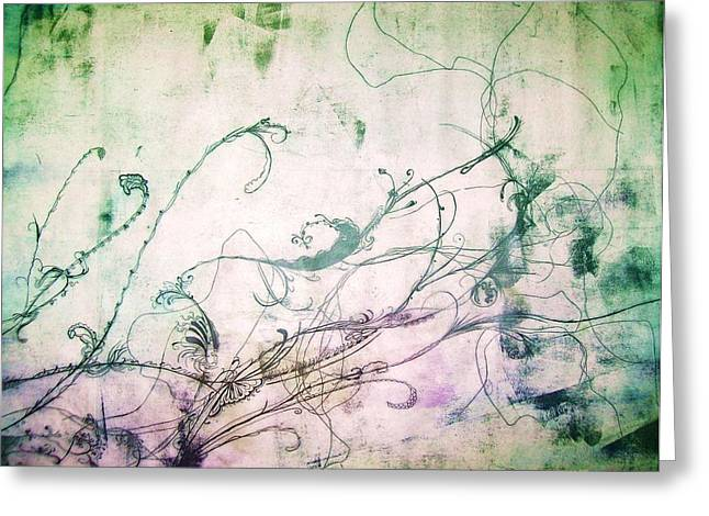 Flowers And Vines Two Greeting Card by Tomislav Neely-Turkalj