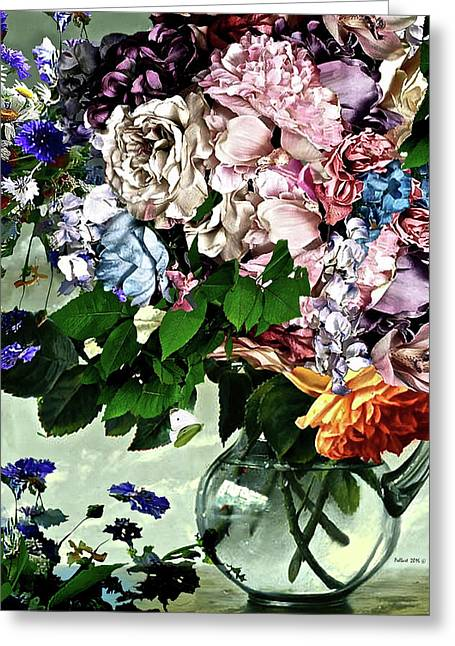 Flowers And White Butterfly, Glass Vase Greeting Card