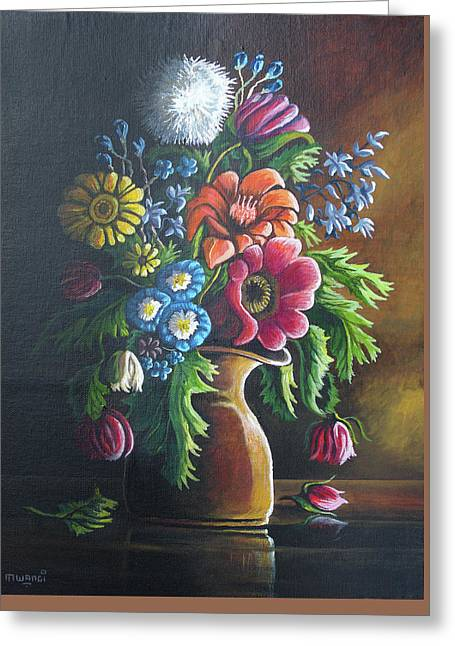 Flowers Greeting Card by Anthony Mwangi