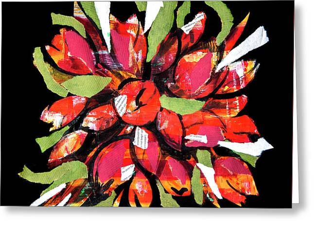 Flowers, Art Collage Greeting Card