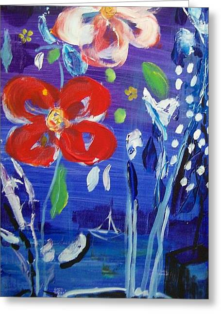 Flowers At Night Greeting Card by Geraldine Liquidano