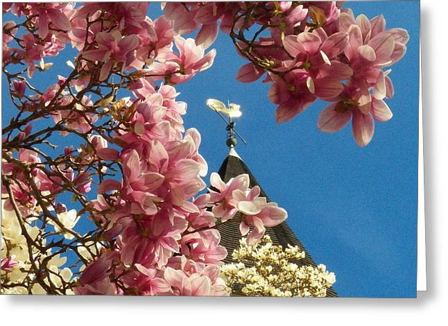 Flowers At The Steeple Greeting Card by Joyce Kimble Smith