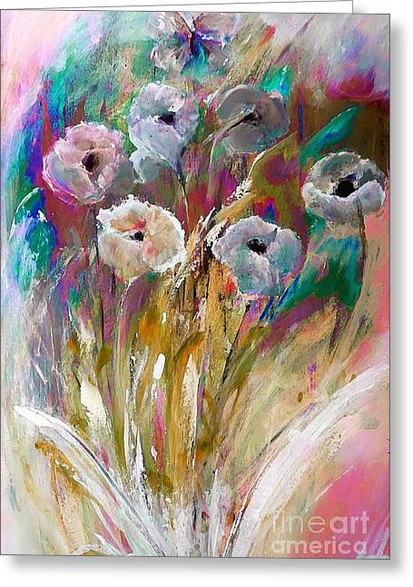 Flowers Behind The Fence Painting Greeting Card