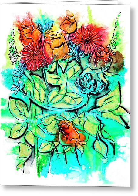 Flowers Bouquet, Illustration Greeting Card