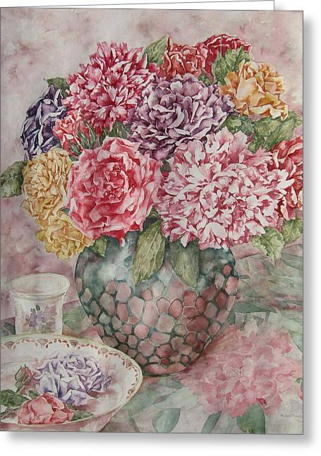 Flowers Arrangement  Greeting Card by Kim Tran