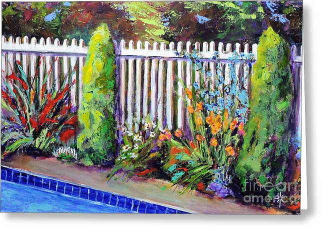 Flowers By The Pool Greeting Card