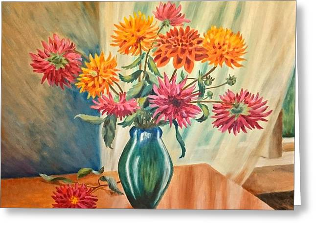 Flowers By The Window Greeting Card by Helen Barth