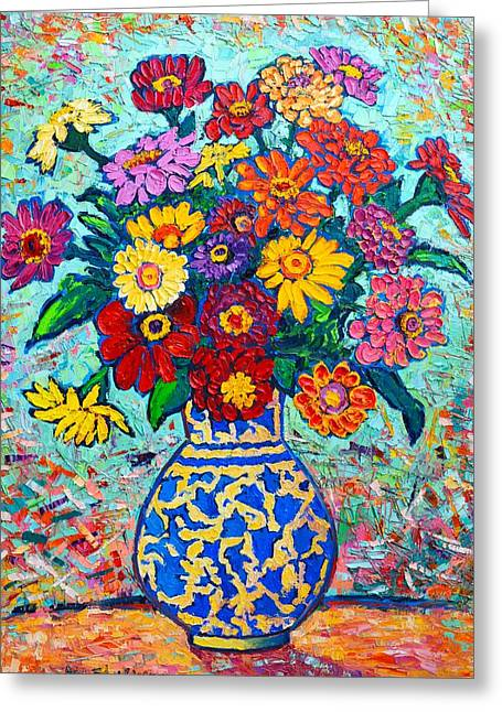 Flowers - Colorful Zinnias Bouquet Greeting Card