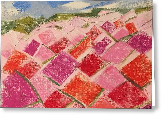 Greeting Card featuring the pastel Flowers Fields by Norma Duch