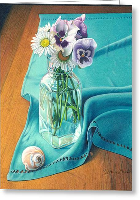 Flowers From Johnny Linen From Noni Greeting Card by Donna Basile