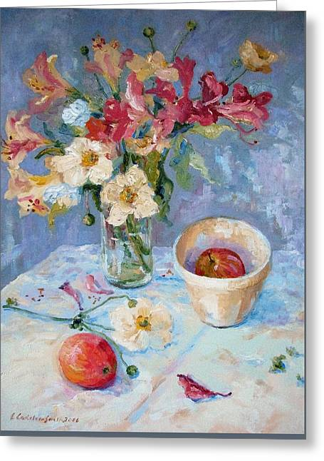 Flowers, Fruit And Mixing Bowl Greeting Card by Elinor Fletcher
