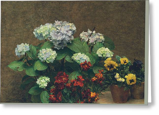 Flowers  Hydrangea, Wallflowers, Two Pots Of Pansies Greeting Card