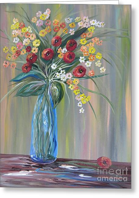 Flowers In A Blue Vase Soft Focus Greeting Card