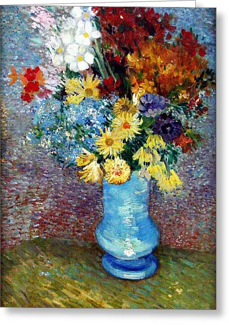 Greeting Card featuring the painting Flowers In A Blue Vase  by Van Gogh