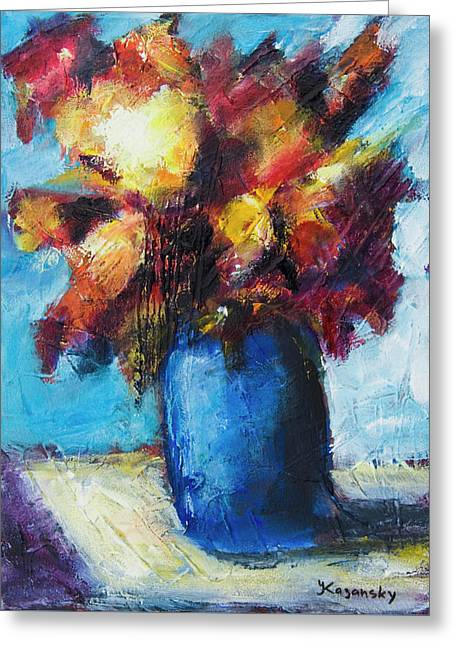 Greeting Card featuring the painting Flowers In A Blue Vase. by Yulia Kazansky