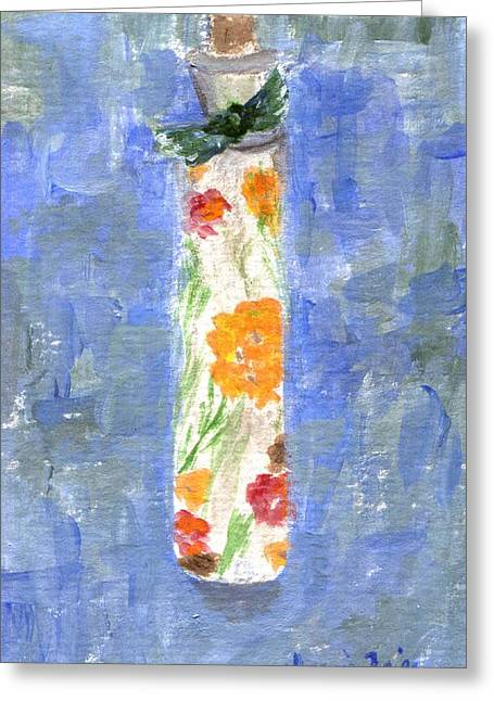 Greeting Card featuring the painting Flowers In A Bottle by Jamie Frier