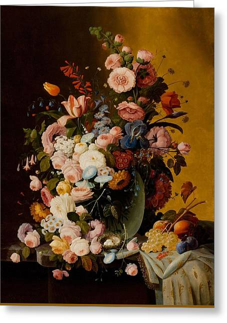 Flowers In A Glass Pitcher With Bird's Nest And Fruit Greeting Card by Severin Roesen