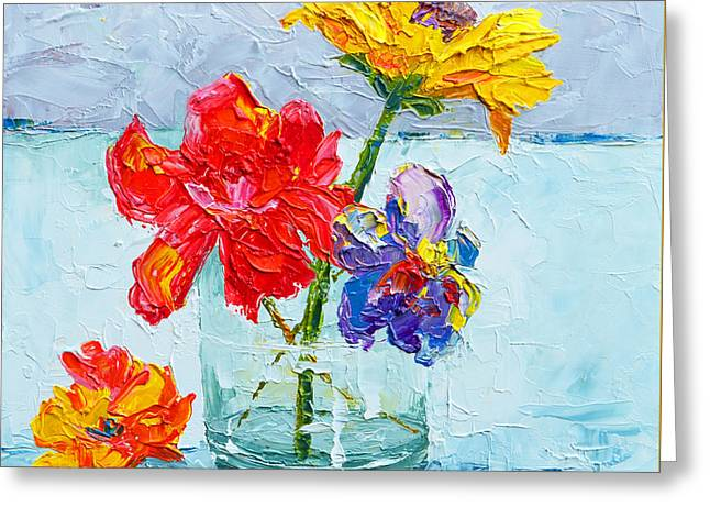 Flowers In A Glass Vase, Peonies And Daisies - Modern Impressionist Knife Palette Oil Painting Greeting Card