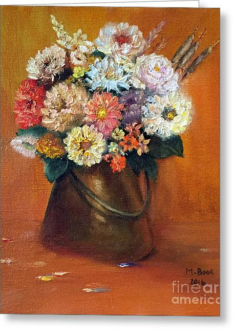 Greeting Card featuring the painting Flowers In A Metal Vase  by Marlene Book