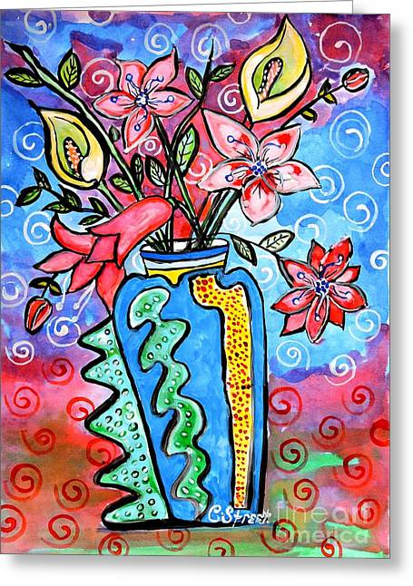 Flowers In A Peculiar Vase Greeting Card