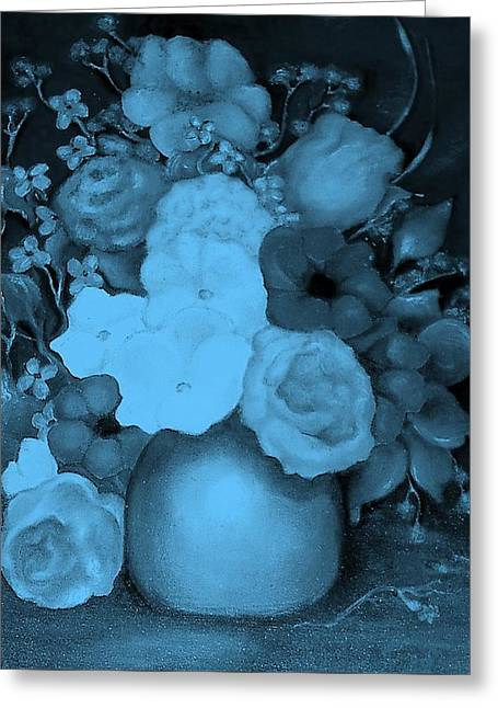 Flowers In Blue Greeting Card