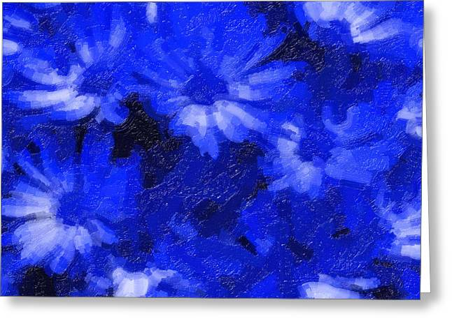 Flowers In Blue Greeting Card by Tilly Williams