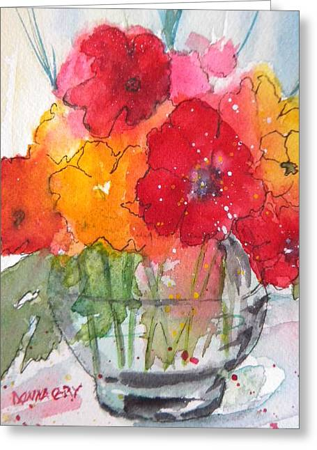 Flowers In Clear Glass Greeting Card by Donna Cary
