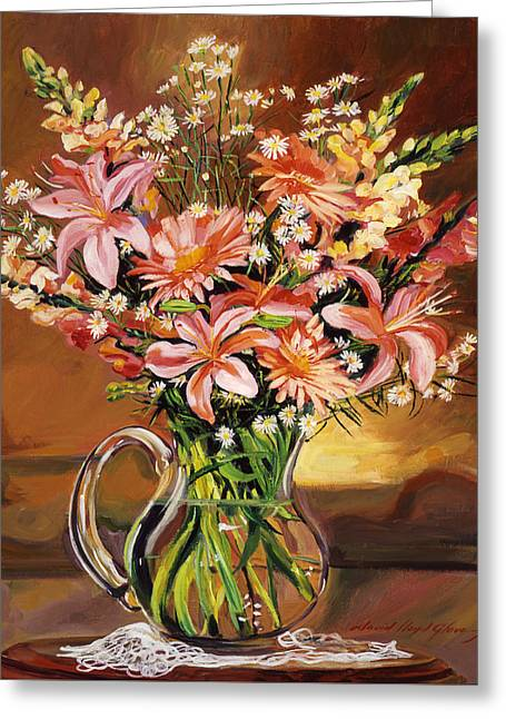 Flowers In Glass Greeting Card by David Lloyd Glover