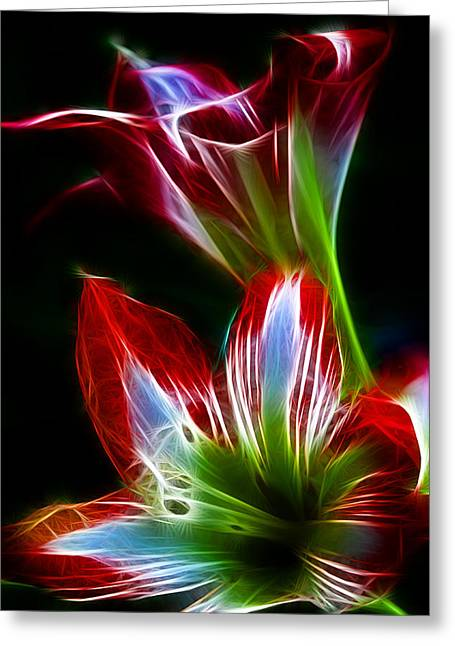 Flowers In Green And Red Greeting Card