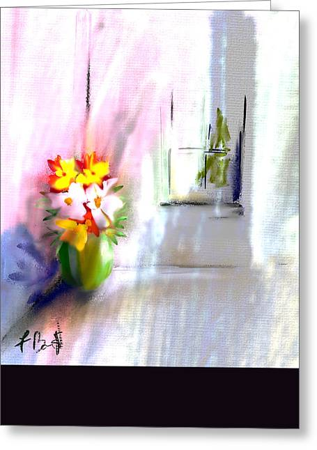 Flowers In The Corner Abstract Greeting Card