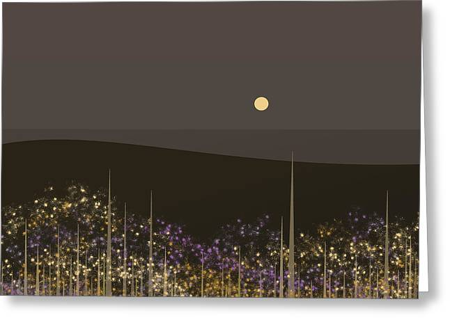 Flowers In The Moonlight Greeting Card