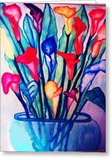 Oranage Greeting Cards - Flowers in Vase Greeting Card by Ava Thayer