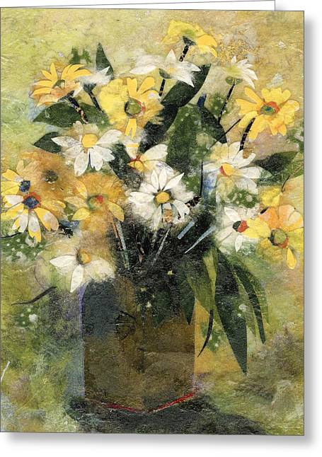Flowers In White And Yellow Greeting Card by Nira Schwartz
