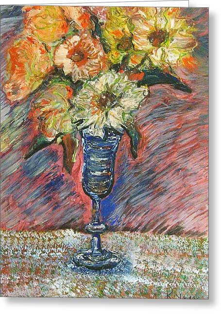Flowers In Wine Glass Greeting Card
