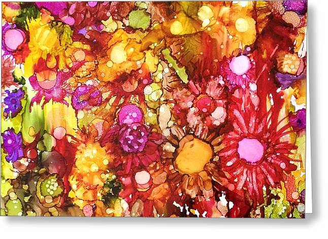 Flowers In Yellow And Pink Greeting Card