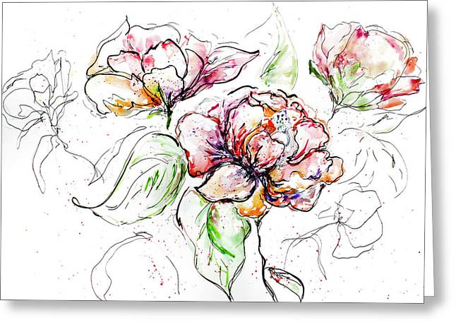 Flowers Inked Greeting Card by Reba Mcconnell