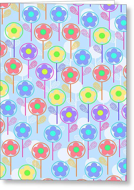 Geometric Style Greeting Cards - Flowers Greeting Card by Louisa Knight
