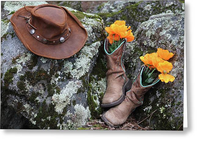 Flowers N Boots 9 Greeting Card