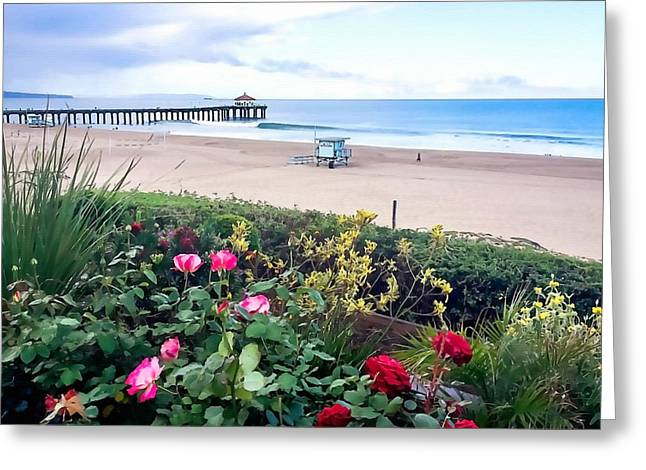 Flowers Of Manhattan Beach Greeting Card by Art Block Collections