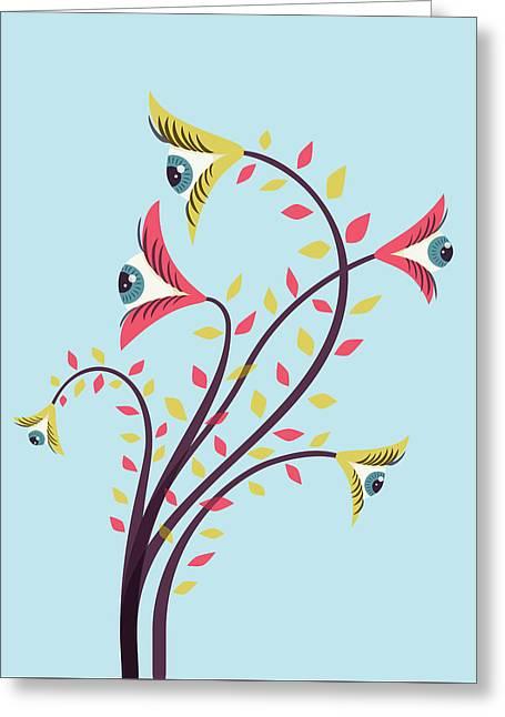 Flowers Of Watching Eyes Greeting Card