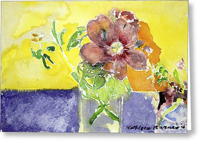 Flowers On A Blue Table Greeting Card