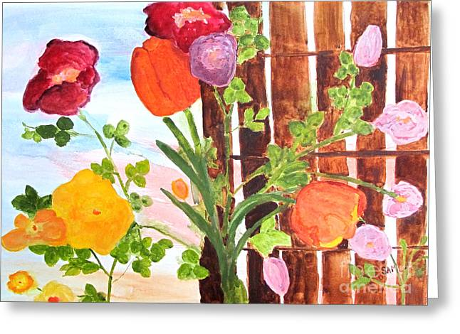 Greeting Card featuring the painting Flowers On A Fence by Sandy McIntire