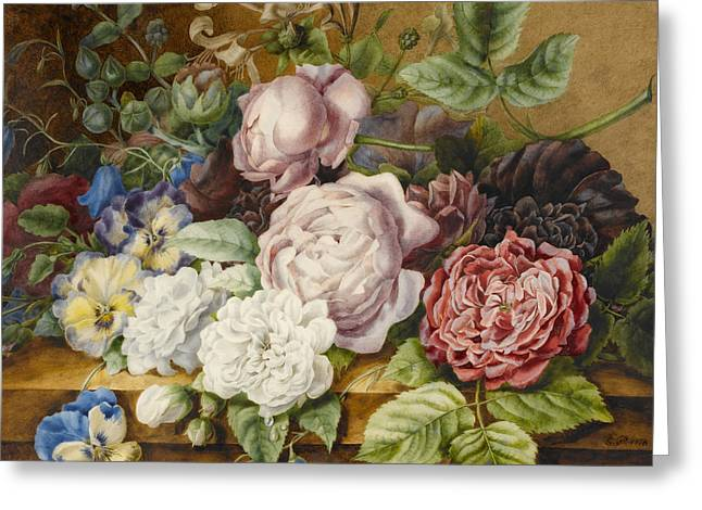 Flowers On A Ledge Greeting Card by Ernestine Panckoucke