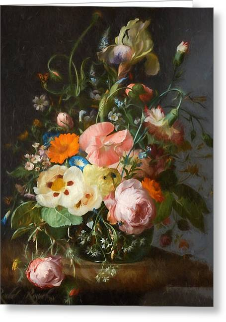 Flowers On A Table Top 2 Greeting Card by Rachel Ruysch