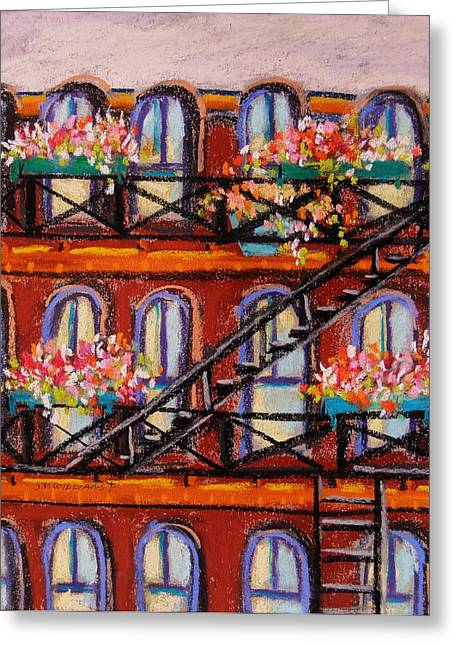 Flower Boxes Drawings Greeting Cards - Flowers on Fire Escape Greeting Card by John  Williams