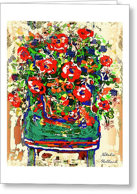 Flowers On Green Chair Greeting Card by Natalie Holland