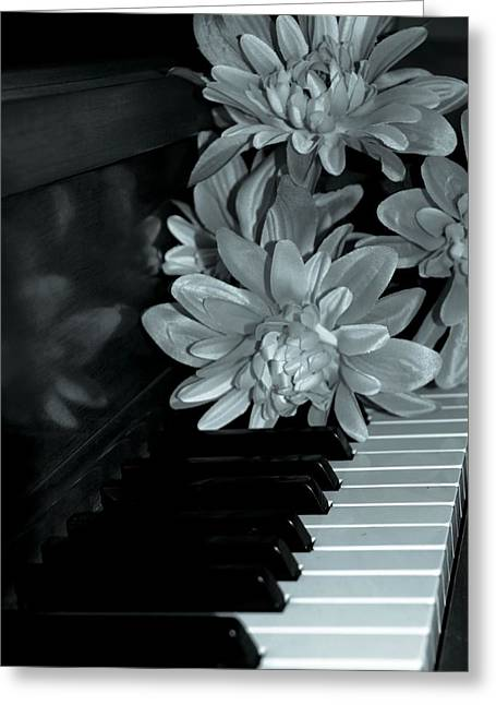 Flowers On Piano Keys Greeting Card