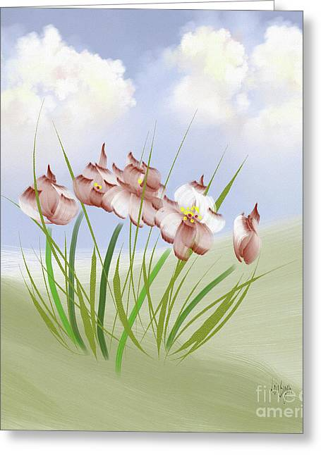 Flowers On The Hillside Greeting Card
